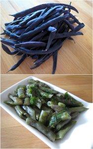 Harircots violets - avant et après cuisson
