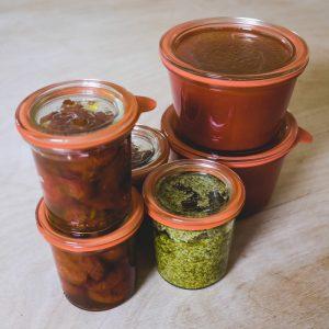 Bocaux pesto, tomates séchées, sauce tomate