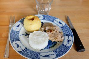 Filet mignon aux pommes, miel et curry