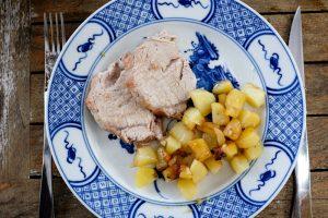 Rôti de porc, pommes de terre sautées