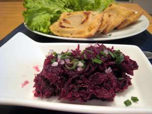 Salade de betterave crue et tourtons