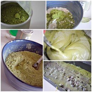 Préparation du cake au thé matcha et myrtilles