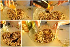 Le mélange des céréales, graines, sucres et huile
