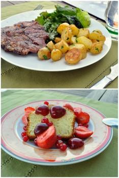 Côte de-porc, gâteau au yaourt et fruits rouges