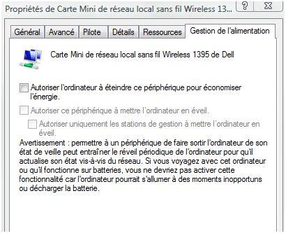 Configuration carte wifi dell pour éviter les reboot