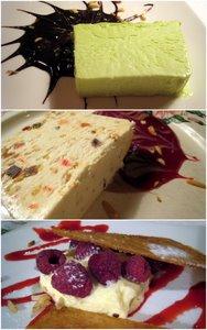 Dessert glacé à la chartreuse, nougat glacé, et croustillant aux framboises