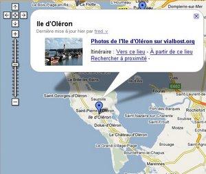 Zoom sur la google map de Vialbost.org