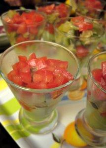 Verrines avocat, poivron, courgettes, tomate