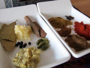 Les épices de la recette (hors garam masala)