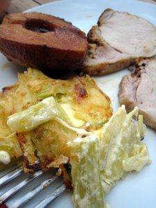 Rôti de porc, pomme et gratin de céleri