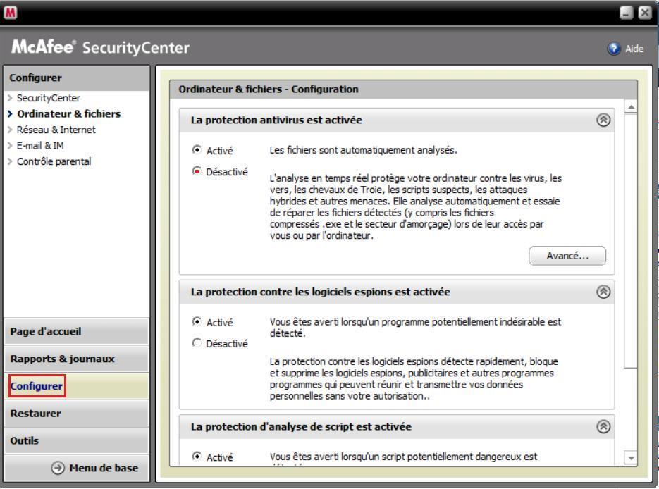 MacAfee, desactiver l'anti-virus