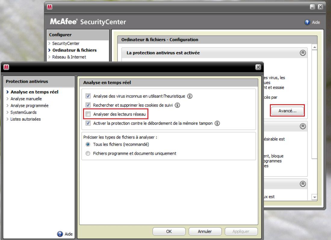 MacAfee - Désactiver l'analyse des lecteurs réseau