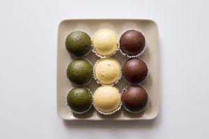 Mushipan matcha, citron et chocolat