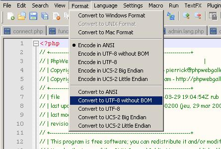 Convertir en UTF-8 sans BOM avec Notepad++
