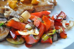 Poivron et poireau au vinaigre balsamique