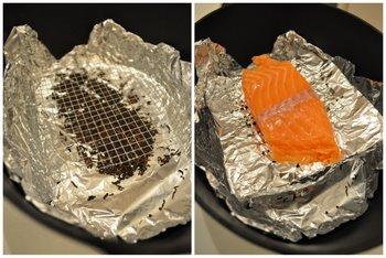 Cocotte + thé + saumon prêt à être fumé